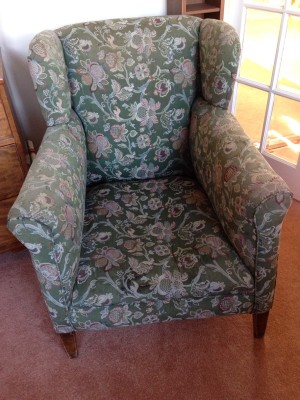vintage high backed armchair