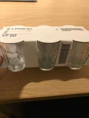 pack of six shot glasses from Ikea