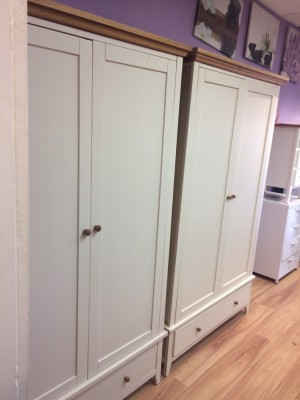 X2 wardrobes and side table and mirror