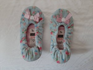 Blue and pink Tu ballerina infant size 6-7 slippers