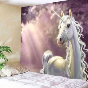 Fabric Wall Tapestry/Throw White Unicorn 91 x 71 Inches Free P+P