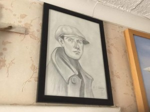 Drawing portrait signed after of L S Lowry 13in 10in
