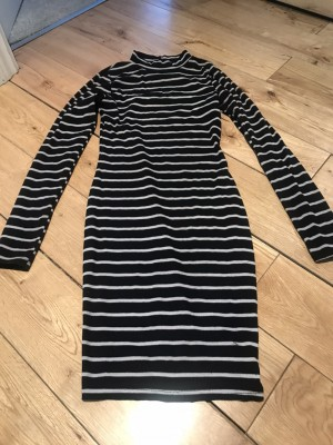 Sexy fitted black white striped dress bodycon 8