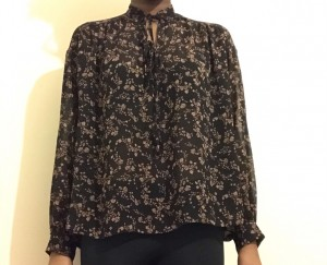 Black and beige blouse
