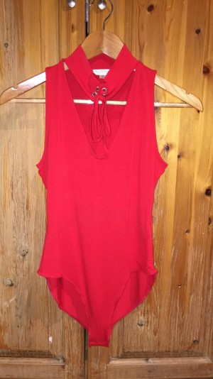 Red Lace Up Miss Selfridge Bodysuit size 8