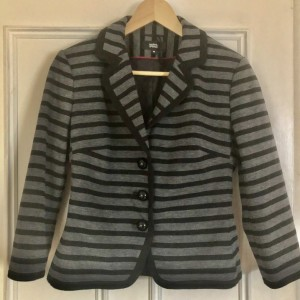 Marks & Spencer Ladies Fully Lined Short Suit Blazer Grey Striped Blac