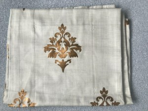 NEW Beige and Gold Patterned Lined Curtains W108cm L181cm