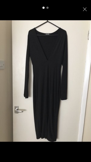 Missguided midi dress with plunge front and slit up one side - Size 10