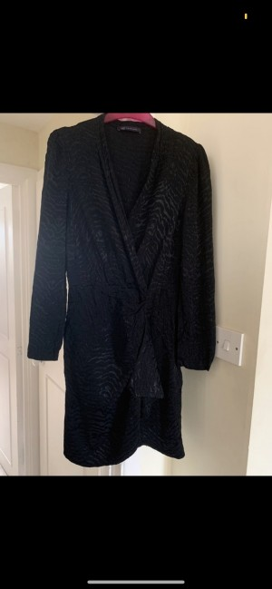 Marks and Spencer black long sleeve asymmetric waterfall plunge neckli