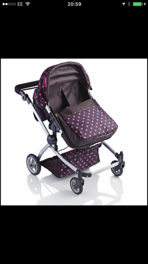 Brand new twin dolls pram boxed adjustable height handles forward or rear facing
