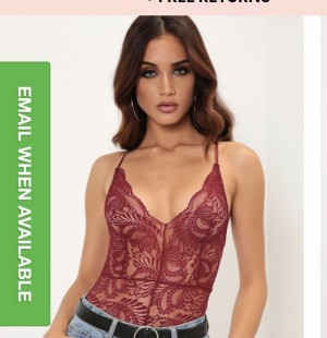 Wine lace bodysuit