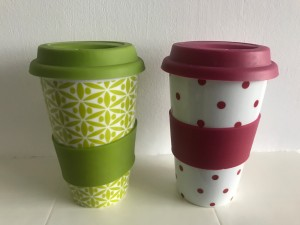 2 x Ceramic Travel Mugs - Double Walled with Silicone Lid and Sleeve