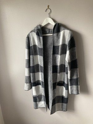 Checked new cardigan with hood S