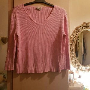 Pink 100% Cotton Ribbed Sweater Size 12-14