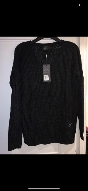 AX Paris black acrylic knit-effect V-neck jumper with distressed look