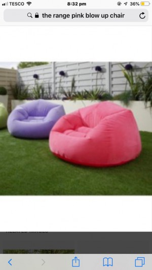 pink blow up chair , used once but re-done room so doesn't look righ