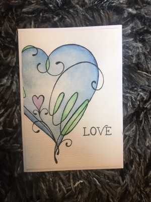 Watercoloured Blue Love Heart Card