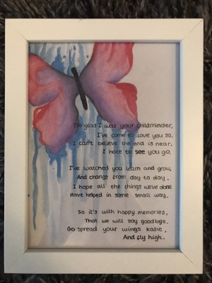 Watercoloured Butterfly Picture Frame with personalised quote