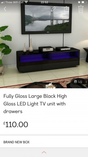 Brand new High Gloss Tv Unit Stand include LED Light