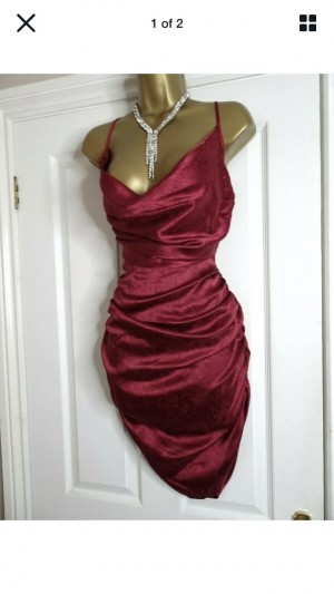 Sexy Nasty Gal Burgundy Ruched Satin Dress Size 10 Chic