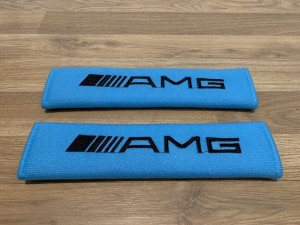 2X Seat Belt Pads Cotton Blue Gifts Mercedes AMG Aclass Bclass Cclass