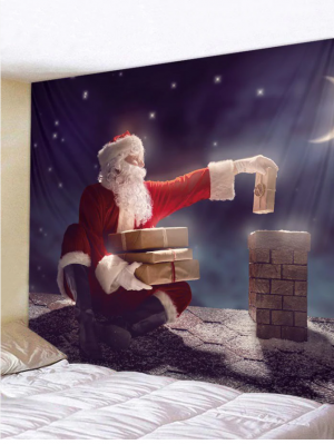 Fabric Wall Tapestry Santa and the Chimney 59 x 51 Inches