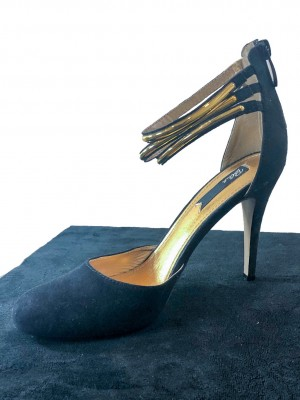 Black heel with Gold Ankle Strap - size 5
