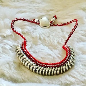 Trap Grunge Red Silver Tone Link Adjustable Bracelet Holiday Party Jew
