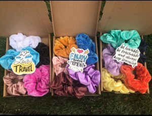 Pack of 5 and 8 mystery scrunchies box