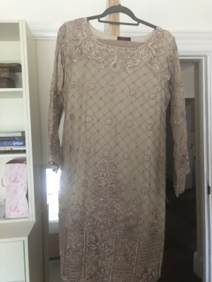 Beige embroidered Asian dress