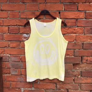 Vintage CUSTOM Yellow Vest Top Trippy Smiley Face Rave Psychedelic M L