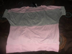 baby pink and grey top