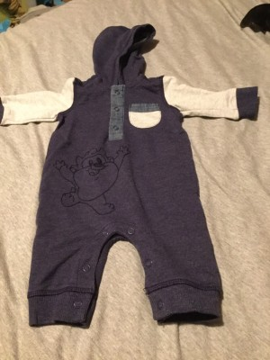 Baby Boys Long Sleeved Hooded Disney Dungarees - Aged 0-3 Months