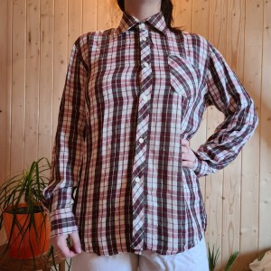 brown and pink checkered shirt