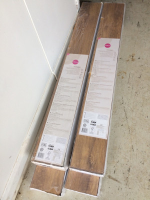 Here are 4 packs of Tuscany olive oak laminate flooring. Each pack contains 1.85 square meters of area. Each pack retails for £45. But I'm selling at a fraction of that price.