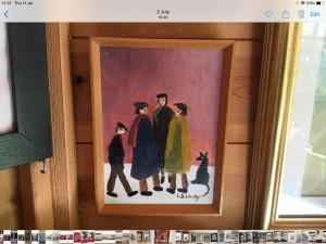 Oil on canvas signed after L S. Lowry 8in 6in