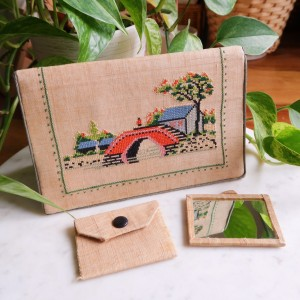 Vintage Cross-Stitched Japanese Scenery Wallet Clutch Bag