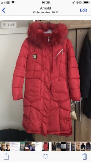 Long red padded winter coat good condition Collection Arnold Nottingha