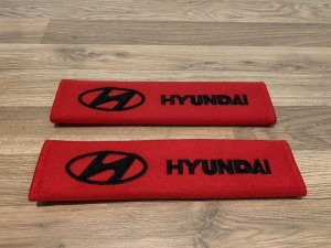 2X Seat Belt Pads Cotton Red Gifts Hyundai I10 I20 I30 I40 IX20 IX35 T