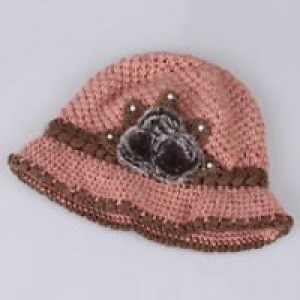 New - woman hat, pink, knitted