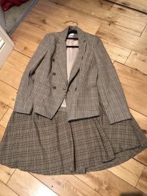 Vintage tweed check blazer & skirt (almost matching pieces) 12