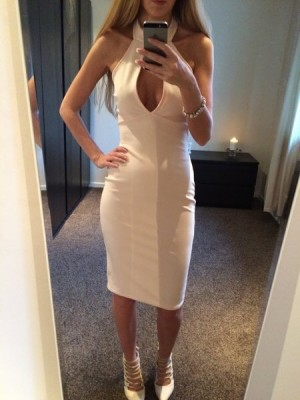 Choker Plunge Bodycon Midi Dress