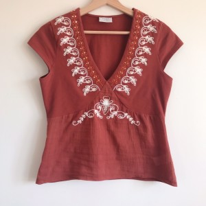 Next Rust Orange Red Embroidered T-Shirt ~ Size 14
