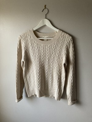 Beige cable knit oversized jumper sweater uk8-10