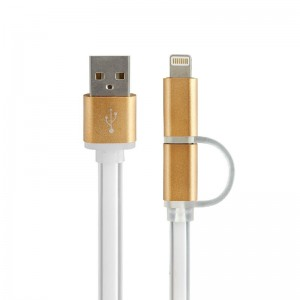 2 in 1 Charging Cable USB Data Cable for iPhone Android Phones Silver