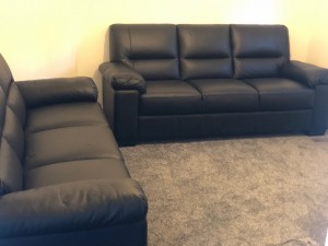 Brand New DFS 3 Seater Black Leather Sofa x 2