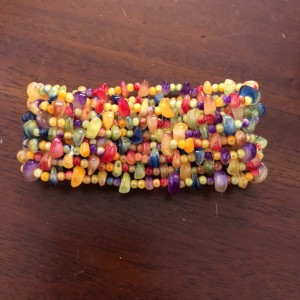 Colourful Broad Beaded Stretch Bracelet