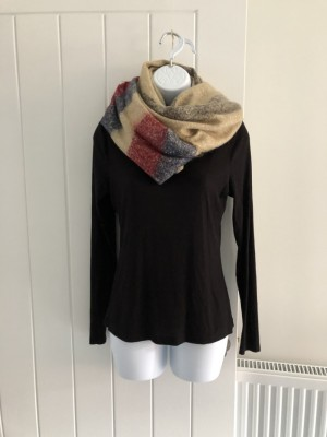 Oversized Tan, Red & Blue Scarf Woolly Scarf