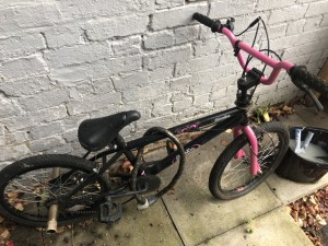 Pink and Black Scorpion BMX bike