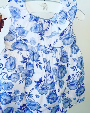 Baby girls blue and white dress